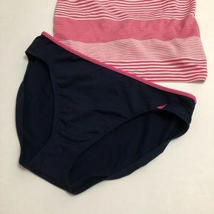 Nautica Dark Navy Blue Pink Trim Bikini Bottoms